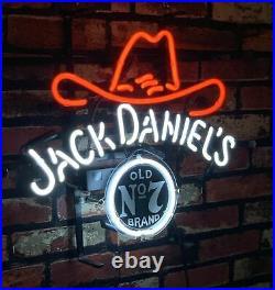 Jack Daniel's Neon Sign Light Man Cave Bar Pub Vintage Decor Real Glass Custom