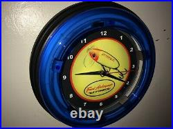 Jitterbug Fred Arbogast Fishing Lure Bait Shop Bar Man Cave Neon Clock Sign