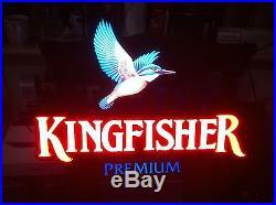 Kingfisher Beer Vintage Light Box Sign Bird Pictorial Pub Brewery Nt Neon Enamel