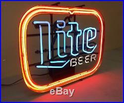 LITE BEER NEON SIGN Vintage Light Up Bar Sign 21 x 17 Miller Lite Man Cave