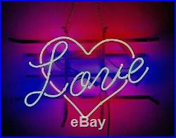 LOVE Real Custom Neon Sign 17x14 Wall Light UK Vintage Bulbs Home Bar Luxury USA