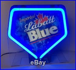 Labatt Blue Neon Light Up Table Top Beer Sign, Fallon Vintage Retro Man Cave Bar