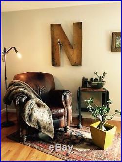 Large Antique Neon Metal Letter N