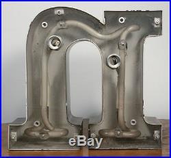 Large Vintage Letter n Sign. Metal Construction Neon. Car Dealer Salvage