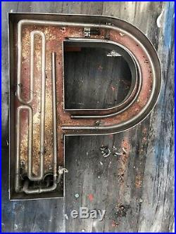 Large Vintage Neon Metal Letter P Greenpoint Brooklyn NY 1920s (20h x 17w)