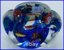 Large Vintage Signed Murano Art Glass Fish Aquarium Sculpture