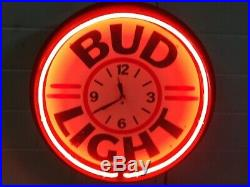 Lighted Bud Light Neon Light Clock Sign Vintage Man Cave Bar Mount Plexiglass