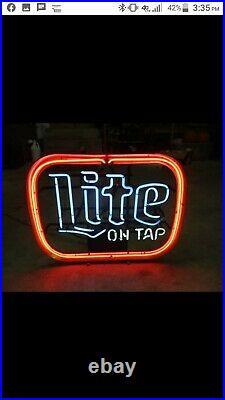 Lite On Tap Vintage Miller Lite Beer Neon Bar Sign 1979 Works Perfectly