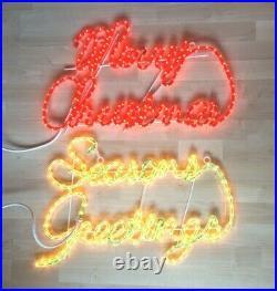 Merry Christmas & Seasons Greetings Vintage Neon Sign Plastic Indoor Outdoor