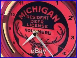 Michigan Deer Buck Hunting License Hunter Shop Man Cave Neon Wall Clock Sign