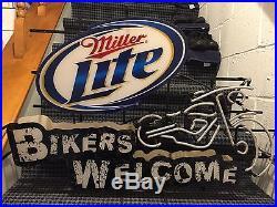 Miller Lite Bikers Welcome Neon Sign Vintage RARE