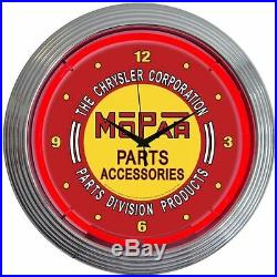 Mopar Nostalgic Vintage Neon Clock Plymouth Dodge Chrysler Hot Rod Sign
