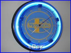 Mossberg Shotgun Firearms Rifle Store Advertising Blue Neon Wall Clock Sign
