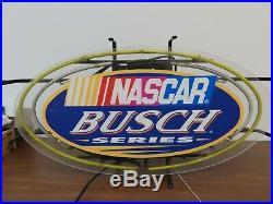 Nascar Busch Series Oval Beer Bar Neon Light Sign 27x16 Awesome Vintage