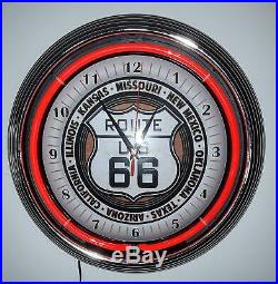 Neon Clock Aged Route 66 Sign 15 Inch Sized Wall Clock Blue Neon Rim Not Vintage