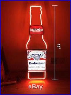 Neon Light Budweiser Bottle Bud Light Busch Beer Bar Miller Vintage Sign 13x5