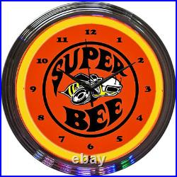 Neon Wall Clock Vintage Advertising Dodge Chrysler Supe Bee Car Emblem Sign New
