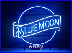 New Blue Moon Vintage Real Glass Tube Beer Bar Pub Neon Light Art Sign 16x14