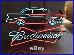 New Bud Light Old Vintage Car Dealer Neon Sign 24x20 Lamp Poster Real Glass