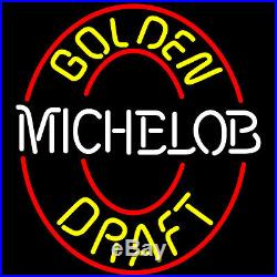 New Vintage Michelob Golden Draft Beer Bar Real Glass Neon Sign 20X16 Q145M