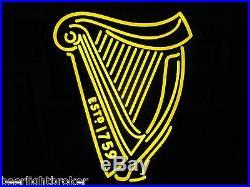 New Vtg Guinness Beer 3-d Gold Harp Led Neon Bar Sign Light Irish Pub Pro Motion