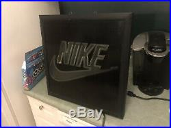 Nike Vintage 1990s Framed Neon Light Store Display Sign Swoosh Authentic