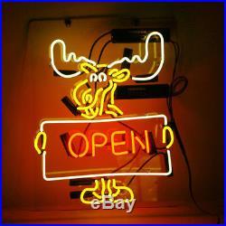 OPEN Deer Neon Sign Light Vintage Beer Bar Pub Shop Canteen Decor Lamp 17x14'