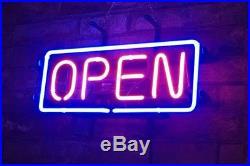 OPEN Display Real Glass Neon Sign Decor Beer Bedroom Bar Porcelain Vintage