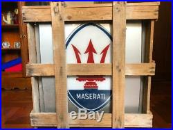 Original MASERATI Lighted Sign Neon Service Vintage 1980s NOS Cars Dealership