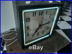 Original Neon Clock Vintage Neon Electric Clock Chicago Sign old neon