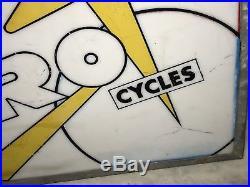 PRE HONDA MOTORCYCLE 1950s HERO CYCLES LIGHT BOX SIGN VINTAGE OLD NT ENAMEL NEON