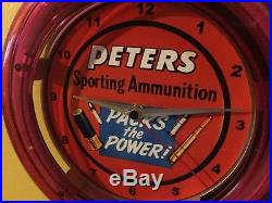 ^^^Peter's Hunting Ammuntion Firearms Ammo Store Man Cave Neon Wall Clock Sign