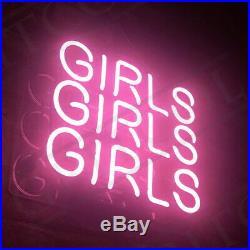 Pink Three GIRLS Neon Sign Light Artwork Display Vintage Room Patio Home Beer