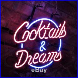 Porcelain Vintage Boutique Decor Pub Store Neon Sign Cocktails & Dreams