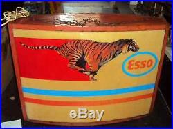 RARE ESSO OIL GAS PETROL TIGER VINTAGE LIGHT UP BOX SIGN 1950s NT NEON ENAMEL