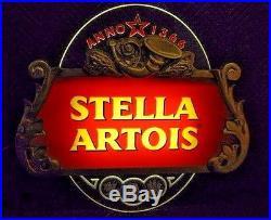 Rare Large Vintage Stella Artois Light Up Beer Sign Neon Effects