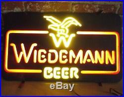 RARE VTG WORKING Wiedemann Beer Neon-Look Lighted Man Cave Advertising Bar Sign