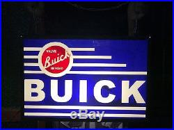 Rare Gm Buick Motor Car Dealership Garage Vintage Light Box Sign Nt Enamel Neon