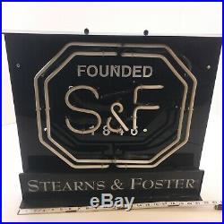 Rare Vintage 1980's Stearns & Foster Neon Sign Commercial Heavy Duty Grade 22x20