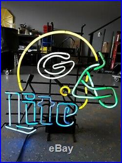 Rare Vintage Miller Lite Green Bay Packer Helmet Neon Sign