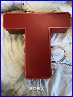 Real VINTAGE INDUSTRIAL ILLUMINATED SHOP SIGN WALL ART, LETTER T, large neon Sign