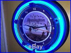 Remington Country Firearms Shotgun Gun Store Hunting Blue Neon Wall Clock Sign