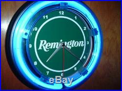 Remington Firearms Shotgun Gun Store Hunting Blue Neon Wall Clock Sign