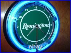 ^Remington Firearms Shotgun Rifle Hunting Advertising Man Cave Neon Clock Sign
