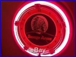 Savage Firearms Shotgun Rifle Gun Advertising Man Cave Neon Wall Clock Sign