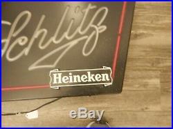 Schlitz Heineken 1982 Vintage Neon Light Up Beer Sign 19