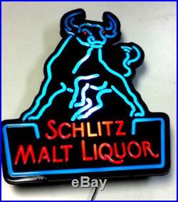 Schlitz beer sign lighted neo-neon bar light box 1987 vintage malt liquor bull