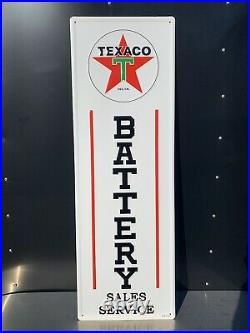Texaco Battery Sales Service Gas Oil Auto Metal Sign Vintage Style Garage Tires