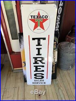 Texaco Tires Sales Service Gas Oil Sign Vintage Style Garage Man Cave Porcelain