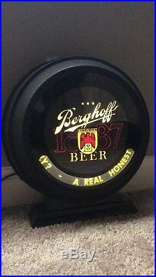 VINTAGE 1940s BERGHOFF BEER FORT WAYNE INDIANA BACK BAR NEON MOTION SPINNER SIGN